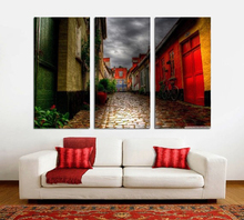 Modern Colorful Photo Picture Alleyway Room Decor 3 Pcs Cities Canvas Art Painting Living Bedroom