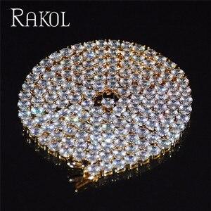 Image 5 - RAKOL collana con catena da Tennis in zirconi cubici di lusso Hiphop gioielli di alta qualità con chiusura a scatola CZ per donna uomo 3mm 4mm 5mm rotondo