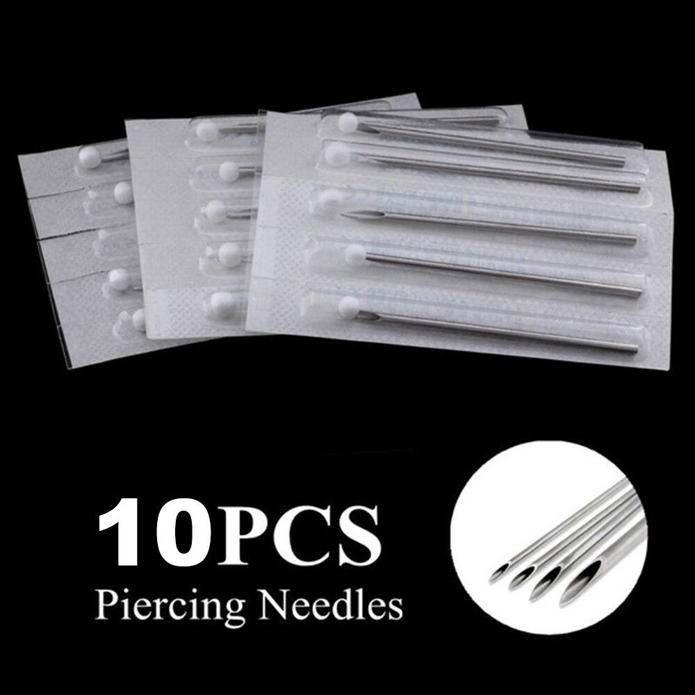 10 agulhas de perfuração estéreis de aço cirúrgico descartáveis 10g 12g 14g 16g 18g 20g para piercings da barriga do nariz do bordo da orelha da fonte da tatuagem