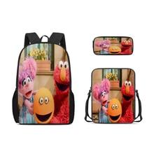 Настраиваемые детская школа сумка 3 шт рюкзак школа сумка мультфильм Улица Сезам детская сумка карандаш сумка девушка