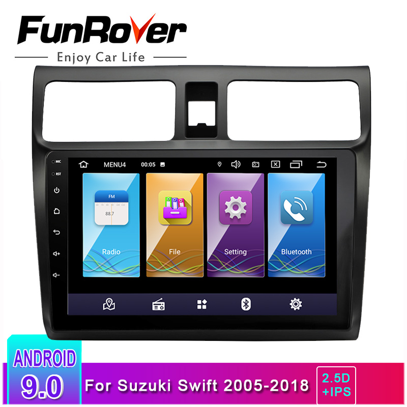 FUNROVER ips 2.5d din Android 9.0 car dvd gps Multimedia 10.1 For suzuki swift 2005 2018 car radio player navigation head unit