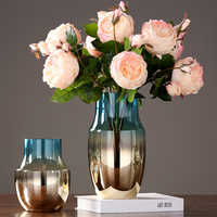 Wholesale Promotion Colorful Glass Vase Plated Art Vases Plants Holder For Home Decoration Fairy Garden Flowerpots Ornament Gift