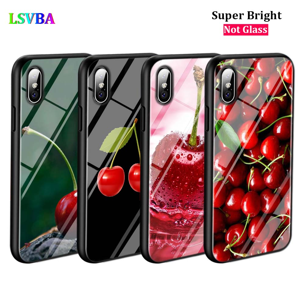 Black Cover Pink Cherries for iPhone X XR XS Max for iPhone 8 7 6 6S Plus 5S 5 SE Super Bright Glossy Phone Case in Fitted Cases from Cellphones Telecommunications