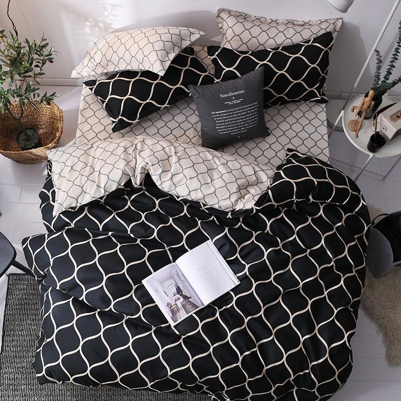 Luxury Bedding Set Super King Duvet Cover Sets 3pcs Marble Single Swallow Queen Size Black Comforter Bed Linens Cotton 200x200