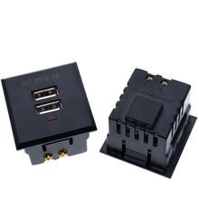 Dual USB AC Power Socket Embedded Dual USB Desktop Receptacle DC charging power Panel Module Outlet 5V 2.1A