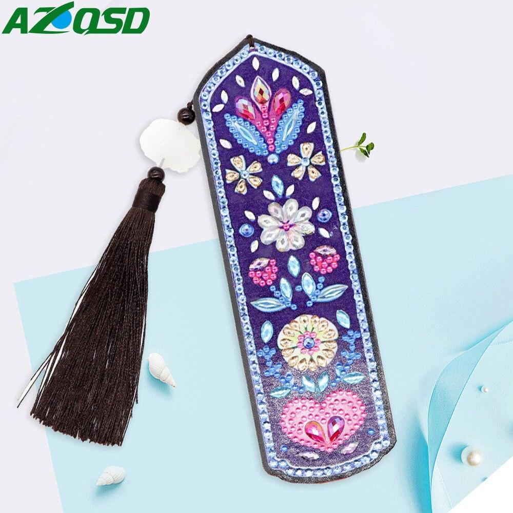 AZQSD Special Shaped Diamond Painting Flower Bookmark Diamond Mosaic Cross Stitch Mandala Tassel Bookmarks DIY
