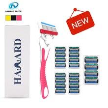 HAWARD Shaving Razor System Razor (1 Razor + 20 Cartridges 5-layer blades) Men's Manual Shaver For Hair Removal