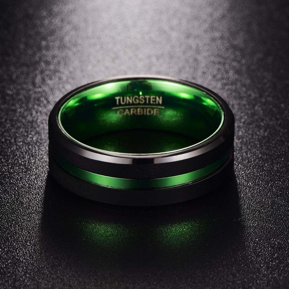 NUNCAD Mens Black Matte Finish Tungsten Carbide Ring Green Center Groove Polished Beveled Edges Comfort Fit Size 6-16