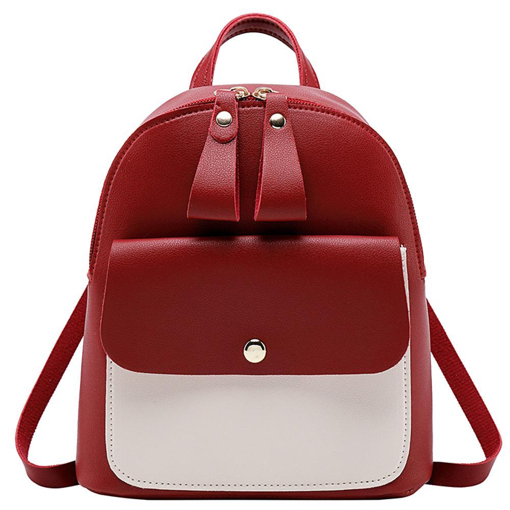 2019 Backpack Women Backpack Fashion Women Shoulder Bag Solid Color School Bag For Teenage Girl Children Double Zipper Backpack