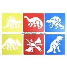 2017 plástico dinossauro imagem desenho modelo stencils réguas pintura crianças diy 6 peças