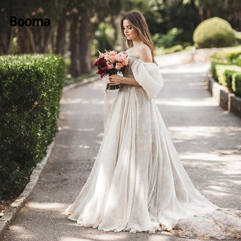 Booma Chiffon Princess Wedding Dresses 2020 Off The Shoulder 3/4 Sleeve Beach Bridal Gowns Simple Boho Wedding Gown Plus Size