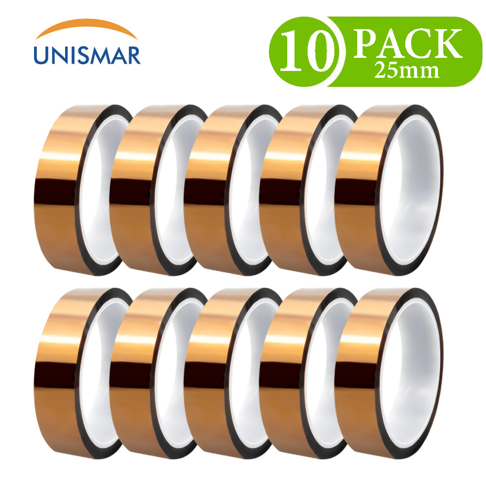 10pk para a fita de kapton 25mm de alta temperatura resistente fita poliimida para a placa