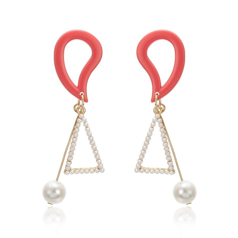 Match-Right Women Long Dangle Hanging Earrings for Women Statement Acrylic Pearl Drop Earrings Pendant Female Jewelry SP689(China)