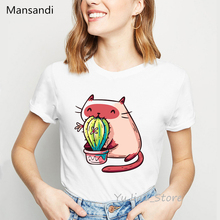 funny t shirts women Cat Eating Cactus print t-shirt camiseta mujer harajuku ulzzang shirt kawaii clothes tshirt tops