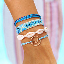 Women Braided Wax Rope Bracelet Set Handmade Adjustable Wrap Sea Shell Bracelet KQS8(China)