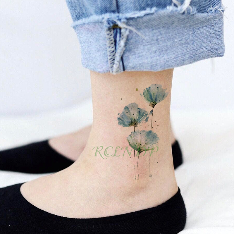 Waterproof Temporary Tattoo Sticker Lotus Flower Watercolor Fake Tatto Flash Tatoo Tatouage Hand Foot Arm For Women Girl Femme