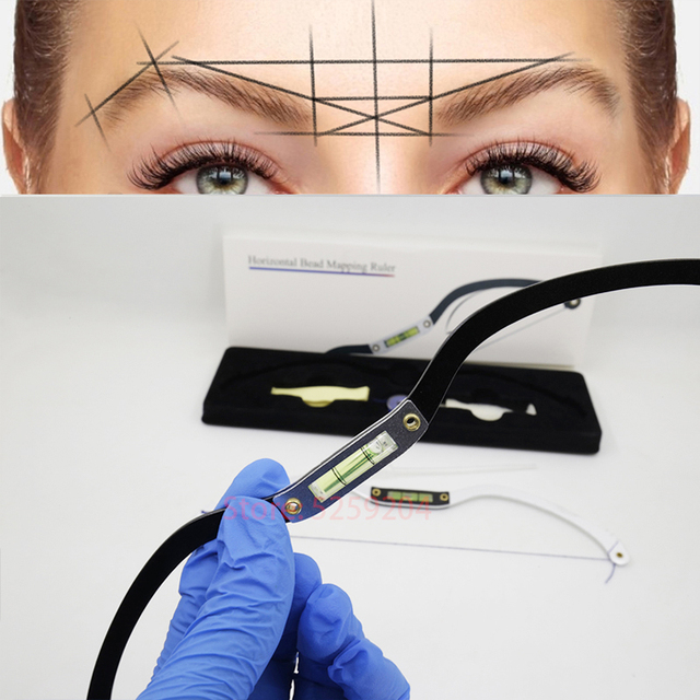 New Eyebrow Mapper ruler Microblading Mapping String Marker Permanent Makeup microblading supplies with Mapping thread pre-inked 2