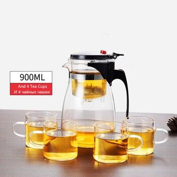 Théière en verre résistant à la chaleur, tasses de thé, 10