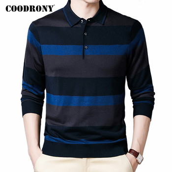 COODRONY Brand Sweater Men Autumn Winter Turn-down Collar Pullover Fashion Striped Casual Pull Homme Knitwear Clothing C1131