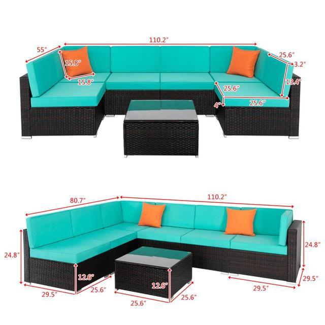 7 IN 1 Garden Rattan Sofa Furniture Set  2