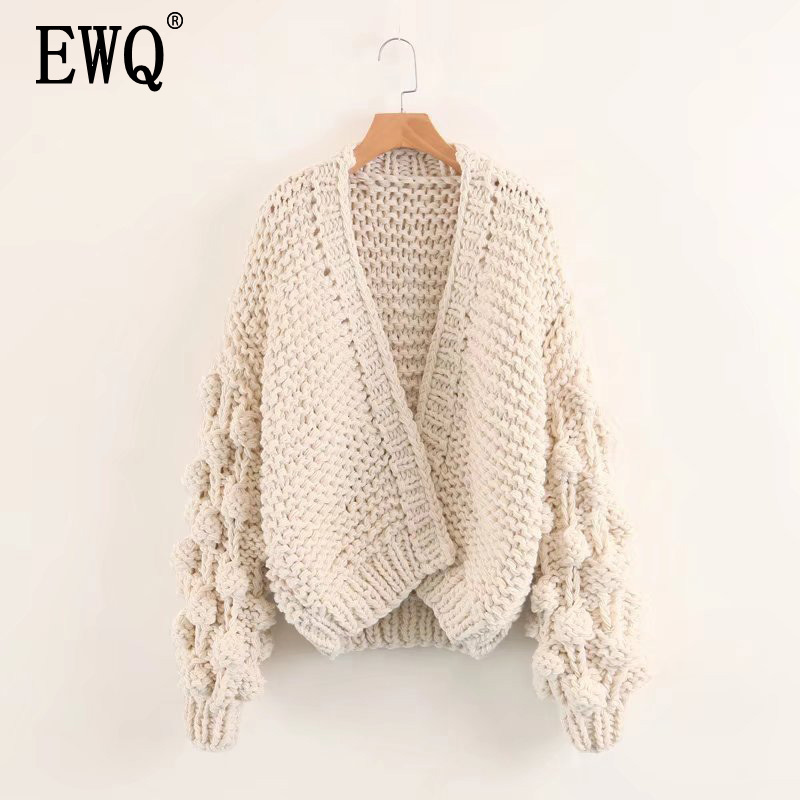 [EWQ] Knitting Hollow Out Sweater Loose Fit Scarf Collar Long Lantern Sleeve Women New Fashion Tide Summer Autumn 2020 JZ070