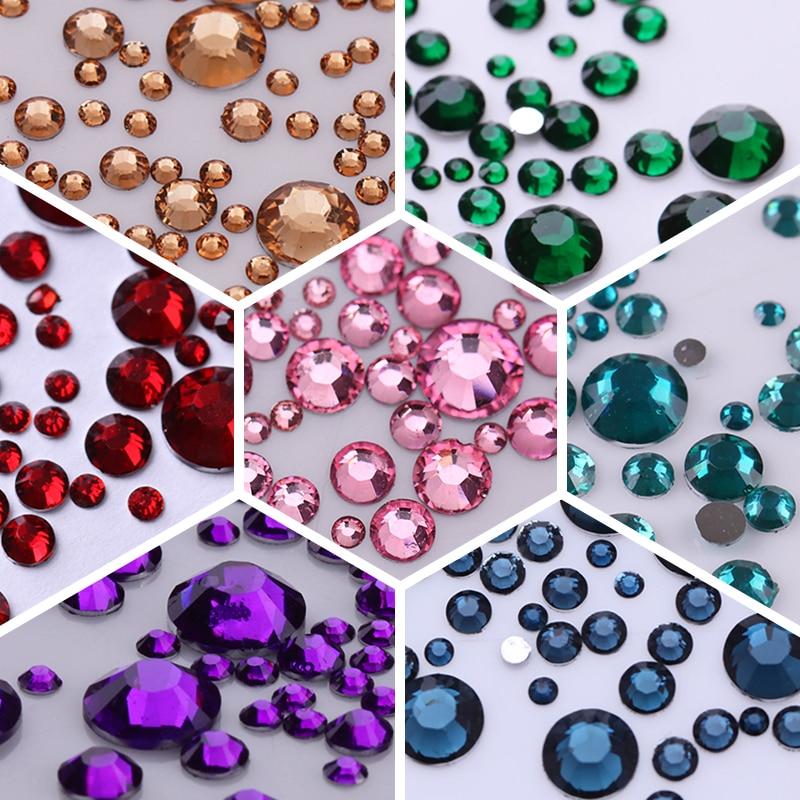 1000Pcs/bag 3D Nail Art Rhinestone Mix Sizes AB Colors Flat Bottom Chameleon Nail Studs DIY Nail Decorations For Nails