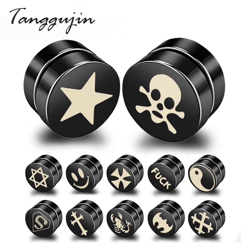 1Piece Punk <font><b>Mens</b></font> Strong Magnet Magnetic Ear Stud Set Non Piercing <font><b>Earrings</b></font> Fake <font><b>Earrings</b></font> Gift <font><b>for</b></font> Boyfriend Lover Jewelry image