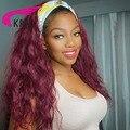 Глубокая волна парик с головной повязкой бордовый Цвет человеческих волос натуральные бразильские Волосы Remy полный автомат повязка на гол...