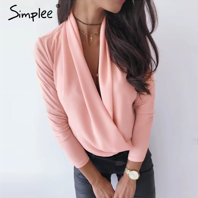 Simplee V neck office ladies blouses shirts Long sleeve autumn winter female white tops Sexy party club slim women blouse 2019 3