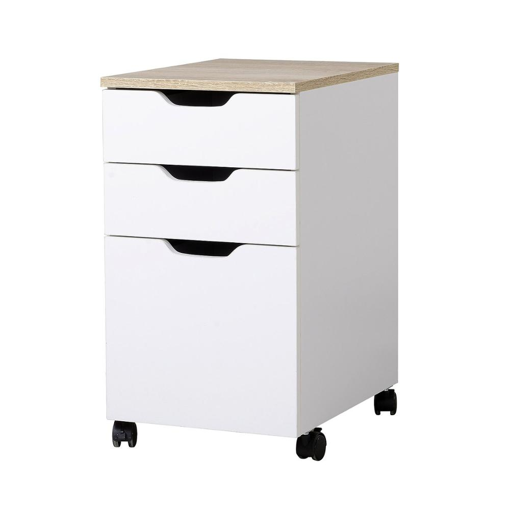 【USA Warehouse】3-Drawer Modern Rolling Storage Cabinet Office Supply Printer Cart