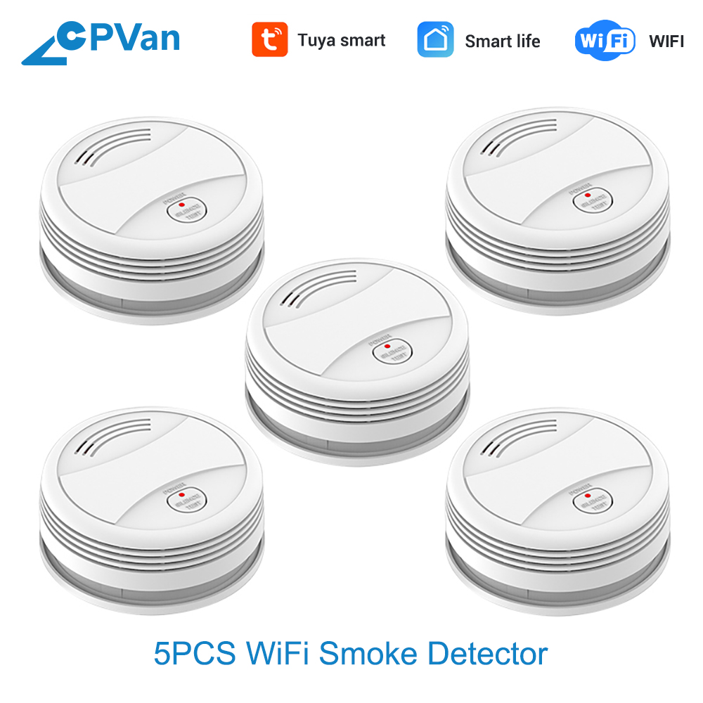 CPVan SM05W 5pcs/Lot Smoke Detector WiFi Tuya APP SmartLife APP Fire Alarm Smoke Sensor Home Security Detector WiFi Rookmelder