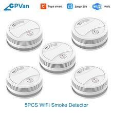 CPVan SM05W 5pcs/Lot Smoke Detector WiFi Tuya APP SmartLife Fire Alarm Sensor Home Security rookmelder