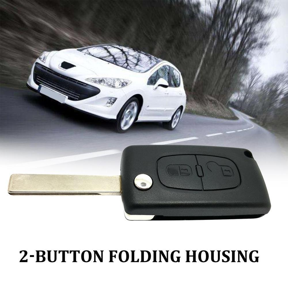 2-Button Folding Housing Car Key Protective Case For Peugeot 207 307 407 308 Car Modification Accessories