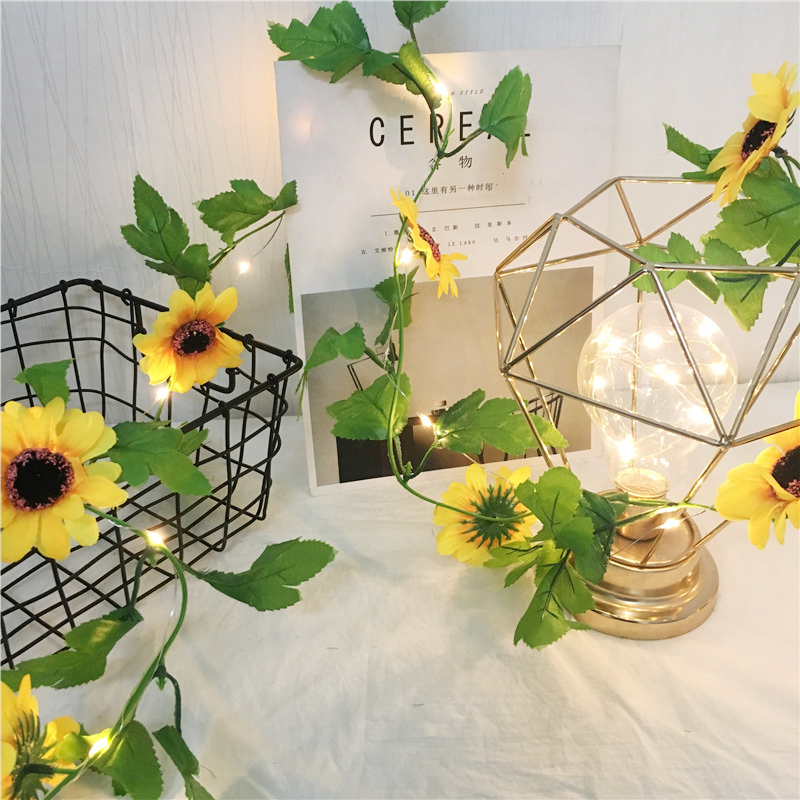 New Artificial Sunflower Led String Light Ivy Vine 2.5M 30Leds For Home Wedding Party Bedroom Decor Lamp DIY Hanging Lighting