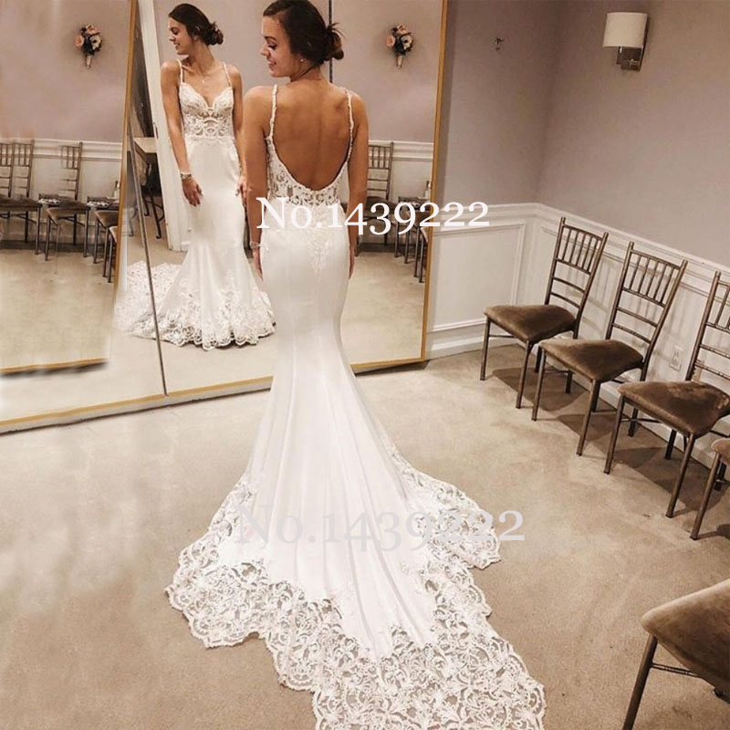 Sexy Vintage Meimaid Wedding Dress Backless Flower Appliques Brush Train Robe De Mariee Sofuge Boho Dubai Arabic Bridal Dress