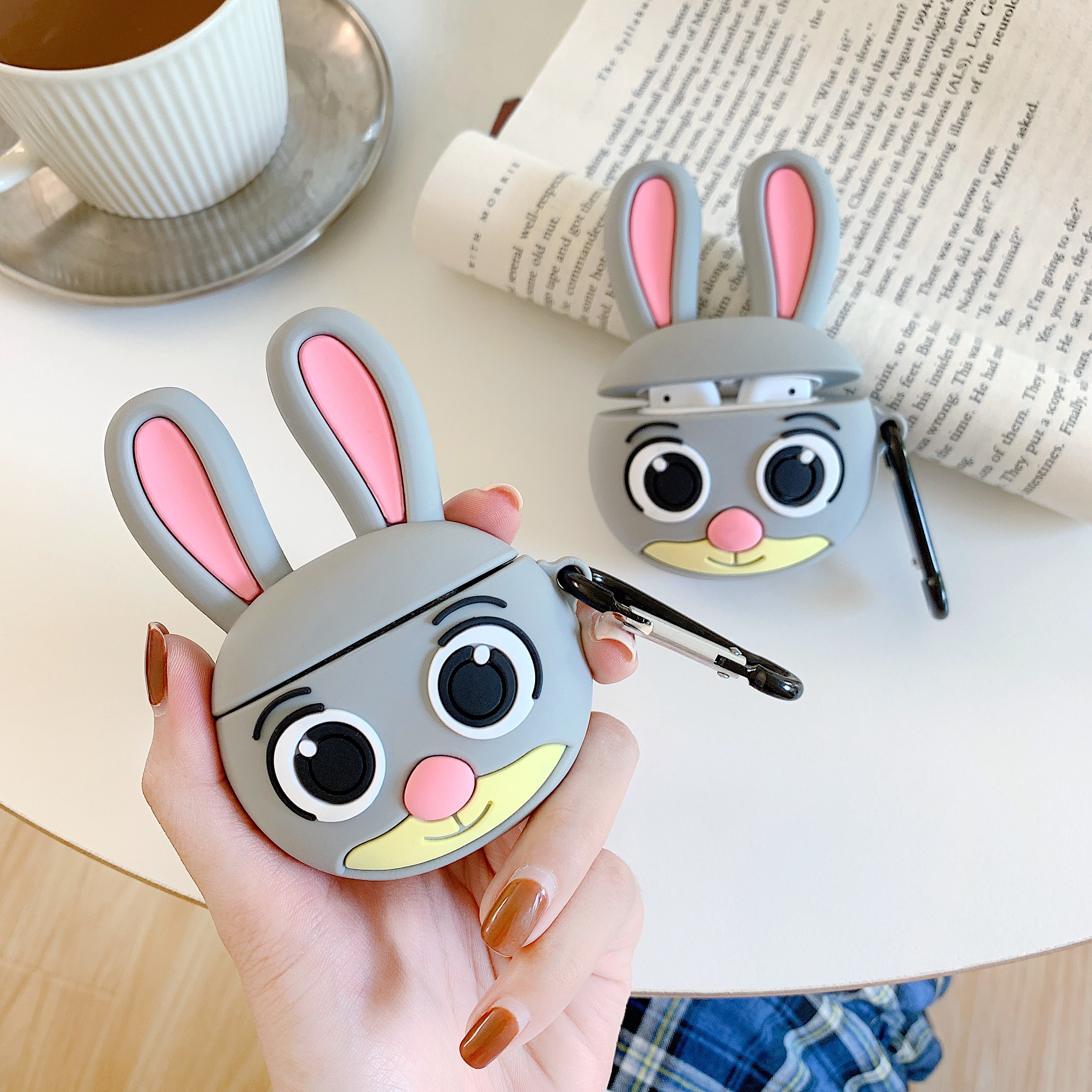 Cartoon Rabbit For Apple Airpods Cover Funny Cute Bluetooth Earphone Case Silicone Headphone Case Box Headset Charging Bag Funda
