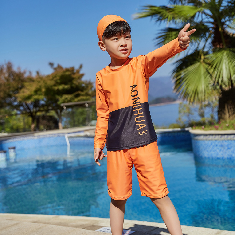 2019 Children Split Type Swimsuit Male Baby Bubble Hot Spring Swimsuit For Boys Handsome Cute Sports Olive Flower 1034