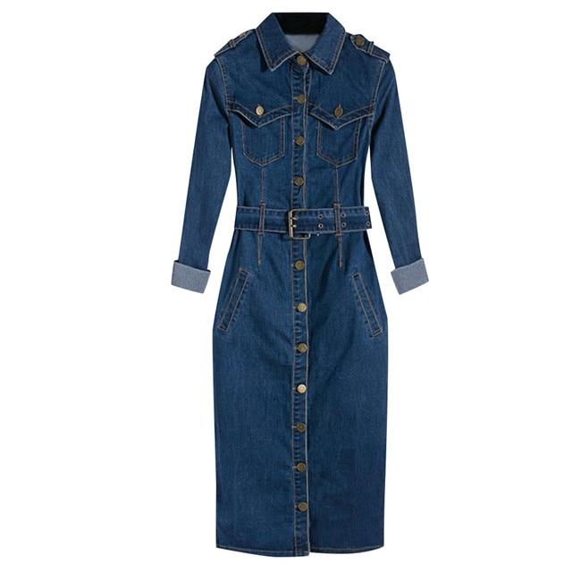 ZOGAA Jeans Dress Denim Dresses Winter Office Slim Jeans Long Sleeve Mid-Cuff Denim With Belt For Women Jeans Dress Long Dress 4