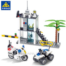 193Pcs City Police Station Buliding Blocks Sets Command Center Car Playmobil Brinquedos Bricks Educational Toys for Children 5mm 216pcs buliding educational cube blocks anxiety stress toys gift new year magnet with metal box disc magnet