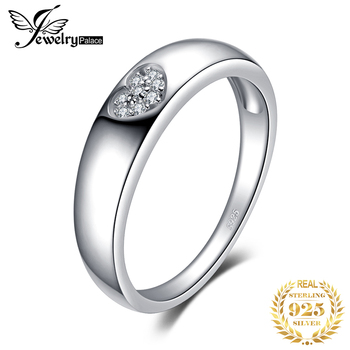 JPalace coeur CZ anneaux de mariage 925 en argent Sterling anneaux pour les femmes anniversaire mariage bandes argent 925 bijoux Fine bijoux