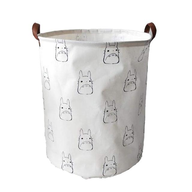 Totoro Foldable Canvas Laundry Basket for Book, Toy, Clothes Collapsible Cubes Storage Bin, Large Hamper Laundry Basket
