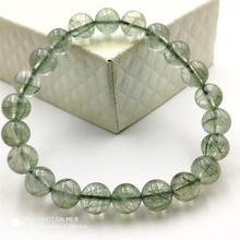 9mm Natural Stone Green Hair Rutilated Quartz Crsytal Bracelet Women Men Clear Stone Anniversary Gift Round Beads Charms AAAAA 53 62mm physical photo natural burma stone green all green bracelet spinach green bracelet appraisal certificate gift boxes