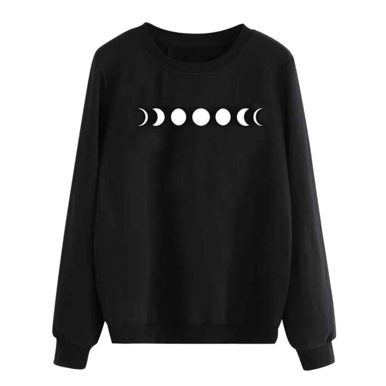 גותי סווטשירט נשים פאנק בתוספת גודל רופף ארוך שרוול סווטשירט ירח כוכב מודפס הסווטשרט סיבתי חולצה moletom feminino A4