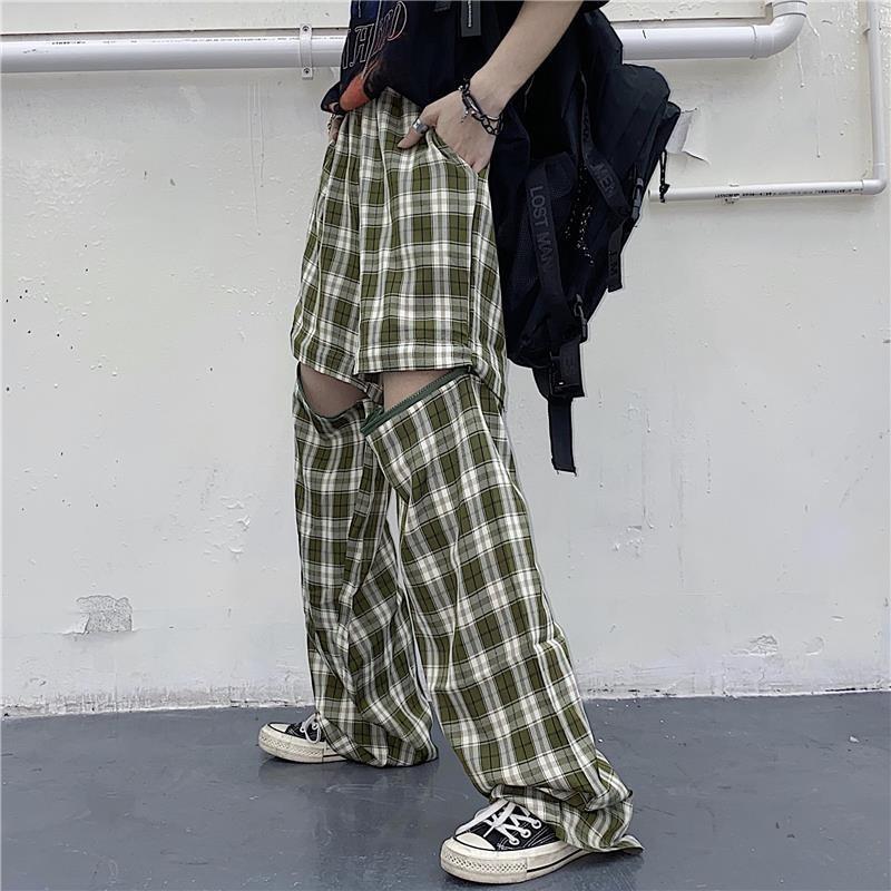 sports shorts summer 2020 new Harajuku Korean version of ins detachable wild lattice casual loose straight pants female tide