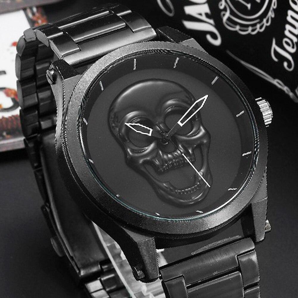 Black Skull Men Watches Steampunk Reloj Hombre Stainless Steel Quartz Mexico Drop-shipping Male Wrist Clock Relogio Masculino