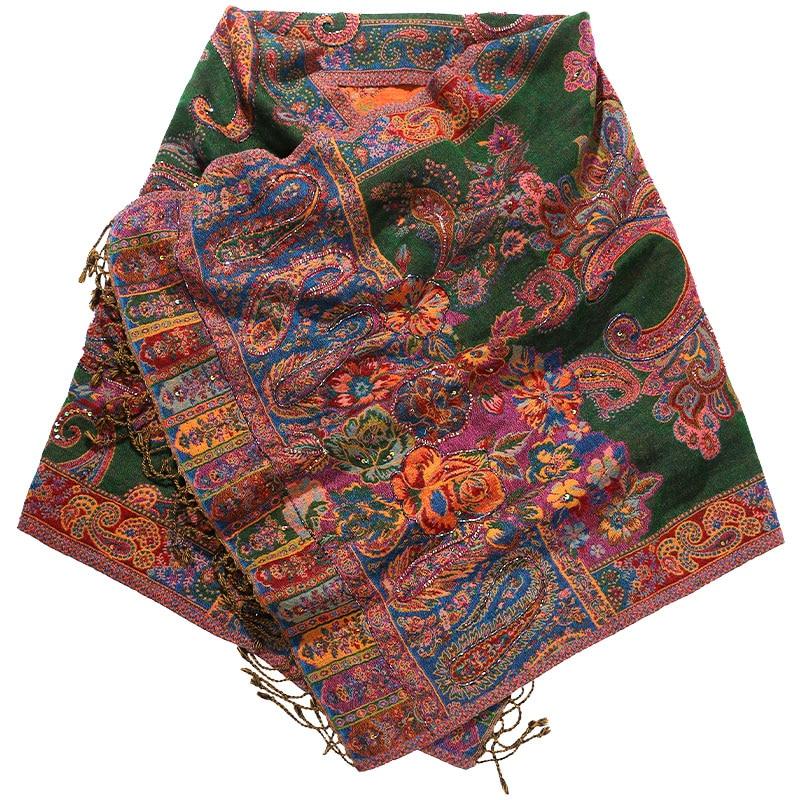 Cashmere Blend Ultra Long Pashmina Embroidery Young Lady Shawls Cachecol Feminino Handmade Tassels Autumn New Mujer Bufanda