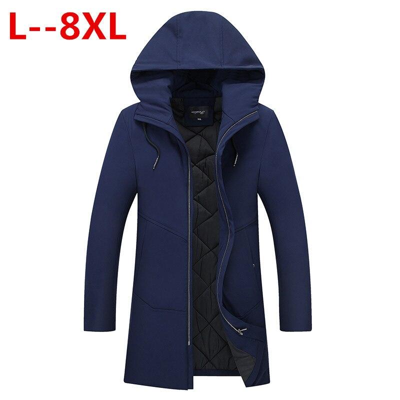 Plus Size 10XL 8XL 6XL 5XL 4XL New  Winter Three Color Men's Long Overcoat Popular Big Size Hooded Warm Comfortable Coat