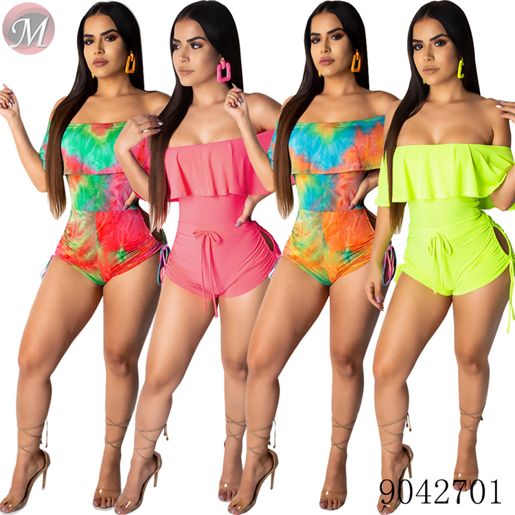 Strapless colorful print hollow out romper   jumpsuits   for women moendress