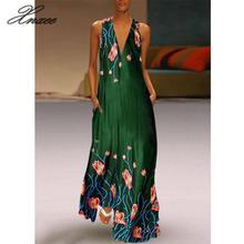 2019 summer hot 3 color printed flowers sleeveless deep V-neck mopping dress Vestido de novia