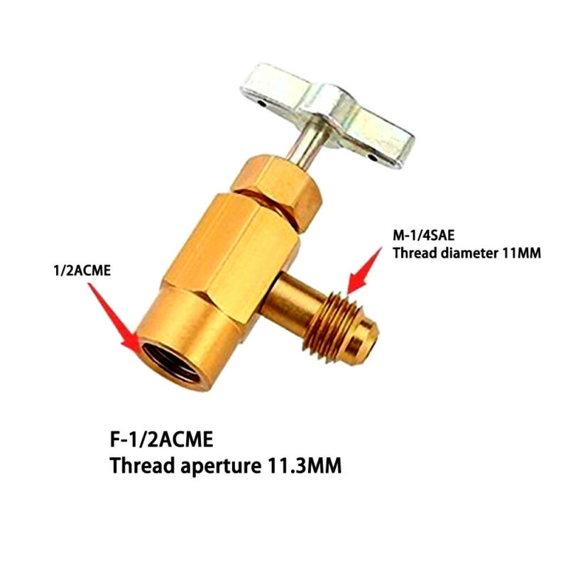 Aluminum Alloy Opener Valve Replacement R-134a 60x35mm <font><b>1/4</b></font> <font><b>SAE</b></font> M14 Thread 1Pc image